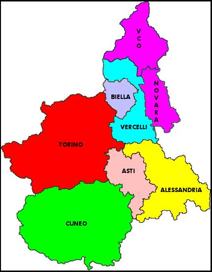 Cartina con le Province del Piemonte