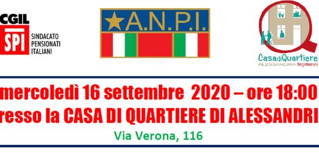 Iniziativa mercoledì 16 settembre 2020 ore 18 presso la Casa di Quartiere di Alessandria